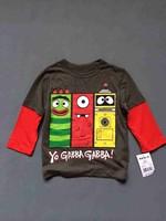 Male baby child yo gabba long-sleeve T-shirt Dark gray faux two piece set