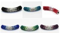15pcs/lot 1cm * 5cm mixed 12 color Disco Ball gradual change Crystal Shamballa Beads long bending Tube For Bracelet  Wholesale!