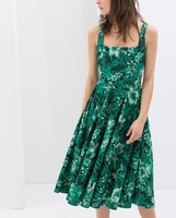 2014 Fashion Brand Design Ladies Green Floral Print Square Collar Sleeveless One piece Dress Dresses SML