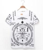 2014 t-shirt Harajuku t-shirt Letter print Short-sleeve T-shirt men hip hop skateboard Punk rock men's shirts