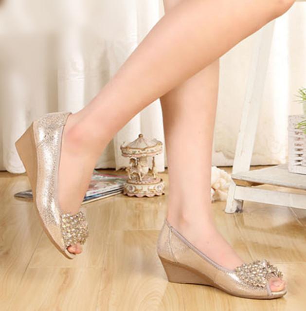 1842 Wholesale!Wedges Twinkle Rhinestone Peep Toe 5cm Women Pumps dance Party shoes Black/Gold Size37-40(China (Mainland))