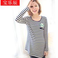Maternity clothing spring top maternity t-shirt long-sleeve spring and autumn fashion stripe basic o-neck shirt