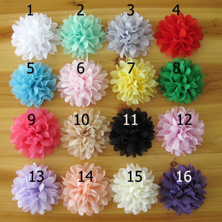 wholesale new infant fabric flowers for headbands handmade baby girls hair accessories DIY chiffon flowers headbands 30Pcs/Lot(China (Mainland))