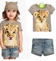 RETAIL summer baby Girls leopard suits  Baby 2pcs set short sleeve  t-shirt + shorts jeans pants