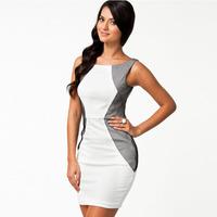 COWEE New arrival white o-neck sleeveless stripe women's trigonometric sexy one-piece dress 21022