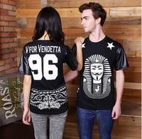 Free Shipping 2014 Mens Hood By Air Short Sleeve Print Casual T-Shirt Leather Sleeve Men Shirts Pyrex Hip Hop GD002