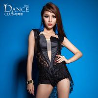 Fashion Black Sexy Female Singer Ds Costume bodysuit Jazz dance clothes costume set