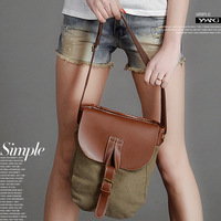 New arrival 2014 unisex real leather messenger bags,causal canvas bags women shoulder bags with straps,Inclined satchel 3colors
