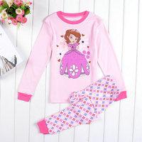 Free Shipping 2014 New Arrival Kids Wear Girls Sofia Pajamas Baby Princess Pyjamas Children Printed Sleepwears Home Clothing set