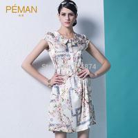 2014 silk one-piece dress peter pan collar print mulberry silk one-piece women's  dress