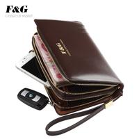 New fashion 2014 brand High Quality Double zipper men handbag  genuine leather Business man day clutch bag free shipping