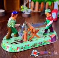 Classic nostalgic vintage bar decoration wound-up tin toys bamboo wood