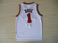 Fast Free Shipping, Cheap Basketball Jersey Embroidery Logos Chicago Derrick Rose #1 Basketball Jerseys