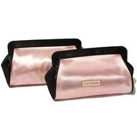 H2026  PP 2014 Candy Pink Black BICOLOR SATIN Case Cosmetic MakeUp Organizer Storage Bag  Drop shipping Free shipping wholesale