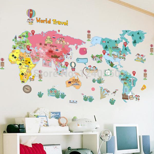 Achetez en gros carte du monde de bande dessin e en ligne for Decoration murale carte du monde