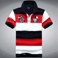 2014 hot new men's lapel short-sleeved striped T-shirt summer dress