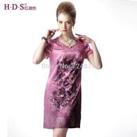 2014 one-piece dress short-sleeve o-neck embroidered silk mulberry silk one-piece dress 549