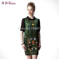 2014 New arrival summer turn-down collar half sleeve silk mulberry silk one-piece dress slim belt