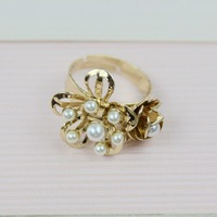 Free shipping 2014 fashion accessories fashion jewelry attractive popular small flower pearl open ring cd-9 ! xn high quantify