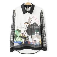 2014 fashion summer women's clothes Castle retro print chiffon patchwork organza blouse ladies blouse top