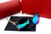 2014 luxury ladies fashion fox head sunglasses shade colorful film fashion sunglasses quality brand shandes