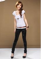 Summer 2014 short-sleeve T-shirt Women slim double u low collar slim shirt basic t-shirt women's