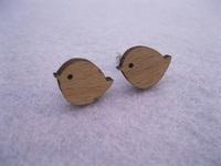 small little bird shape  wood stud earrings