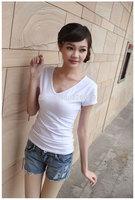 Spring and summer women's basic shirt female v-neck T-shirt female short-sleeve slim all-match elastic