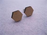 2014 fashion jewellry unique hexagon cut  wood stud earrings