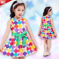 Free shipping! 2 colors Summer Korean Fashion Sweet Cute Elegant Multicolored Dot  Bow  Belt  Princess dress for Girls 2014