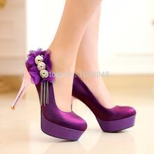 Novos 2014 mulheres bombas Size34-42 salto fino dedo do pé redondo moda feminina salto alto preto / azul / roxo / red cor Sexy mulheres sapatos(China (Mainland))