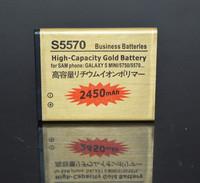 2PCS/LOT Gold business EB494353VU For samsung Galaxy mini GT-S5570 battery Bateria Battery Batterij Akku Batterie Free Shipment