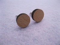 2014 fashion jewellry circle shape  wood stud earrings