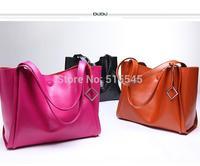 Hot Sale Brief casual fashion tote bag women's cowhide shoulder bag  2014 leather handbag women brand handbag with free gift