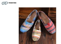 5 Colors Brand Fashion Canvas Flat Shoes Classic Shoes Multicolour Stripe Casual Sneakers PDX74Free Shipping