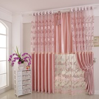 Ready-made curtains Korean garden blackout curtains pink princess married the living room upscale bedroom curtains  gauze