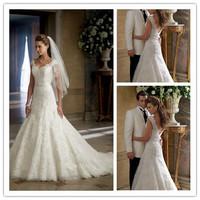 New Noble Mermaid Lace Sweetheart  Wedding Dress White/Ivory Beautiful Beaded Appliques Wedding Gown Zipper Back aa14