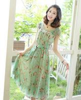 2014 New Fashion Summer Women Clothes Chiffon Slim Full Bohemian Dress One-piece Women's Office Dress Beach Plus Size LBZ10