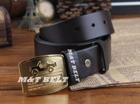 Real Solid Brass Brand Name Buckle Genuine Leather Men TOP Quality Waist Wide Belt Mens Strap Male Cinto Ceinture Man MBT0175
