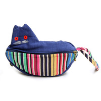 National bags national cloth double faced zipper little cat coin purse bag fabric small tote bag  Drop shipping