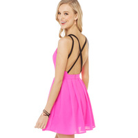 XS - XXL Cross Back Spaghetti Strap Pleated Dress Women V-neck Pink Sexy One-piece Dress with Lining 2014 Summer Plus Size
