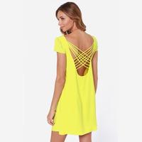 XS - XXL Solid Color Cross Back Mini Dress Women 2014 New Fashion Summer Plus Size Yellow Pink One-piece Dress vestido de festa