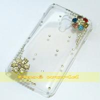 1 Pcs Handmade Bling Flower Clear Hard back case For LG Optimus L7 II Dual P715 P716 Duet+