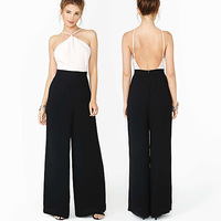 Nasty gal sexy jumpsuit strapless backless hit color stitching chiffon wide leg overalls Siamese bodysuit macacao feminino