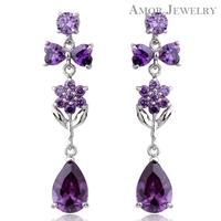 Amor Jewelry AAA CZ Diamond Drop Earrings New Collection 2014 Free Shipping