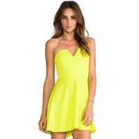 XS - XXL Solid Color Chiffon Tube Top Back Zipper One-piece Dress Women Strapless A-line Mini Dress 2014 Summer New Fashion Plus