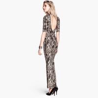 XS-XXL Snake Skin Pattern Placketing Bodycon Dress Evening Party Women Long Maxi Bandage Dress 2014 Spring Summer Autumn Brand