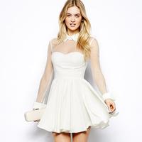 XS-XXL White Patchwork Gauze Sheer Skater Dress Women 2014 Summer Turn-down Collar Zipper Back Plus Size Chiffon One-piece Dress