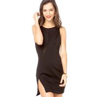 XS - XXL Asymmetrical Chiffon Patchwork Knitted Back Button One-piece Dress Women 2014 Summer Plus Size Black Bandage Dress
