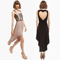 XS - XXL Bohemian Chiffon Dress Women Back Heart Cutout Racerback Sleeveless Paillette Dovetail Design 2014 Summer Plus Size